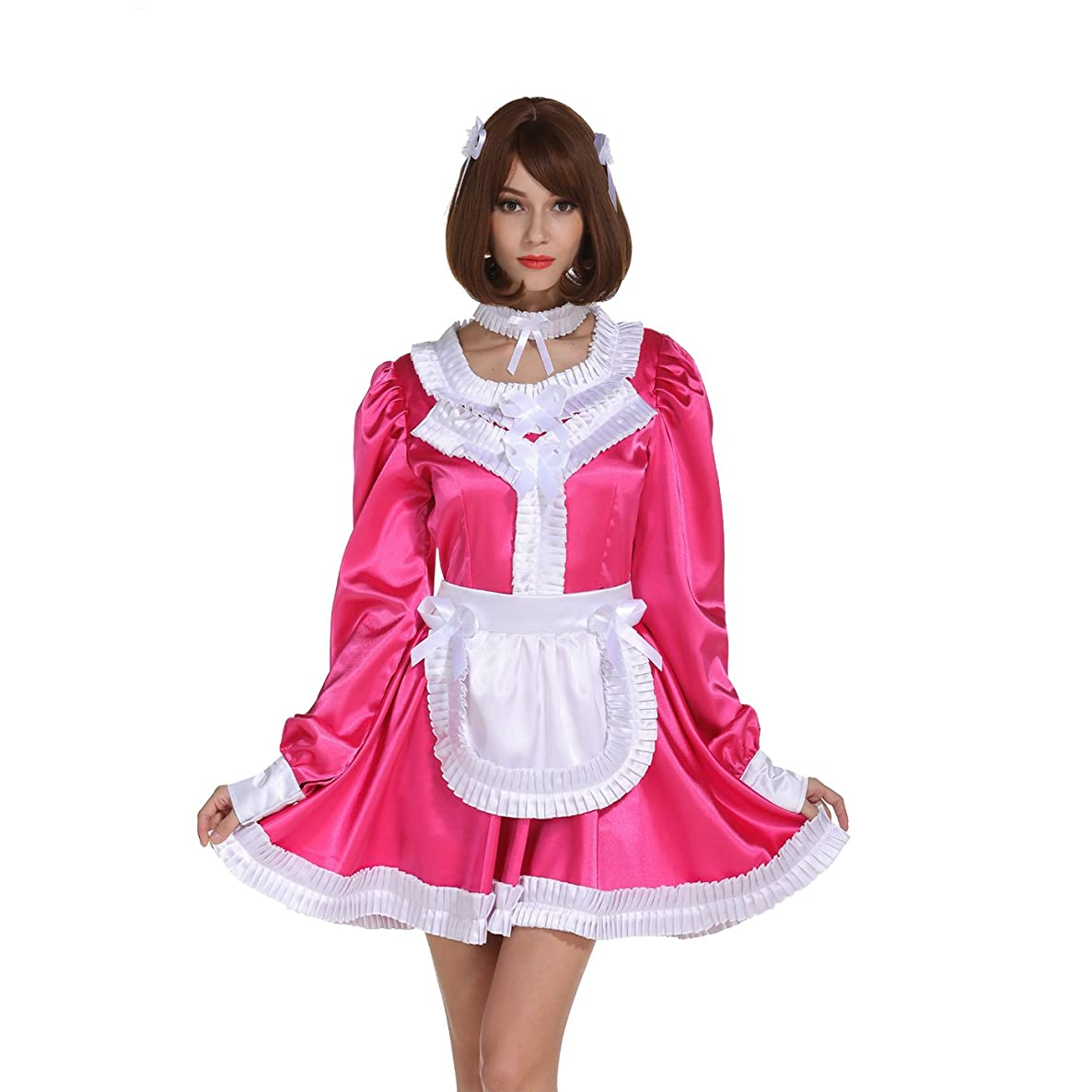 GOceBaby Sissy Girl Maid Lockable Pleated Frill Rose Carmine Dress Crossdress