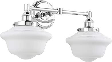 Lavagna 2 Light Bathroom Vanity Chrome with Milk Glass Linea di Liara LL-WL272-MILK-PC