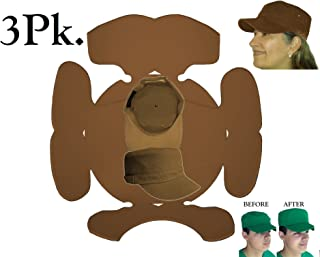 3Pk. Brown Hat Panel Shapers Combo for Military Caps, Flat Bill 5 Panel Hat, Army cap, Conductors hat & Cadet Caps, Flexible Hat Shaper, Long Lasting Hat Liner, 1 FREE INCLUDED PLUS FREE S&H, 100% MBG