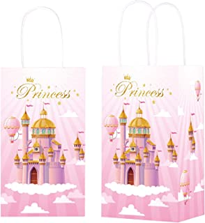 12 Pieces Princess Party Gift Treat Bag, Pink Princess CastleCandy Goodie Favor Bags with Handle for Princess Theme Birth...