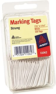 Avery White Marking Tags, Strung, 1-3/4