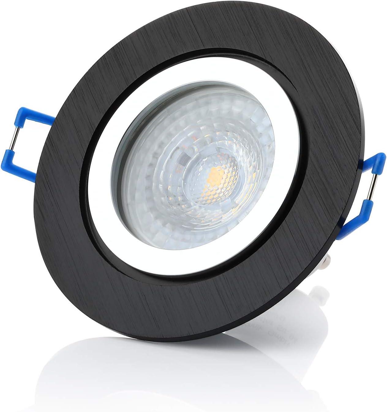 Marco de aluminio IP44 aluminio luz blanca c/álida incluye GU10 7 W cierre de clic 6 x negro de 7 W foco empotrable para ba/ño Sweet LED marco de montaje IP44 560 l/úmenes