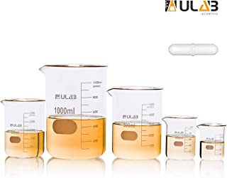 ULAB Scientific Glass Beaker Set with Magnetic Stir Bar Offered, 5 Sizes 50ml 100ml 250ml 500ml 1000ml, 3.3 Boro Griffin Low Form with Printed Graduation, UBG1002