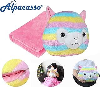 Alpacasso 3 In 1 Rainbow Plush Alpaca Cute Stuffed Animal Toys Throw Pillow Blanket Set