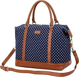 BAOSHA HB-28 Ladies Women Canvas Travel Weekender Bag Overnight Carry-on Shoulder Duffel Tote Bag (Blue Dot)