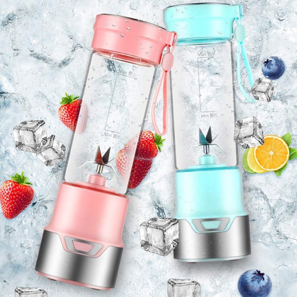 Exprimidor Portátil USB fruta Exprimidor Handheld eléctrico del fabricante del Smoothie Blender agitación recargable mini portátil de taza de jugo de Agua (Color : Tron Blue) Pink