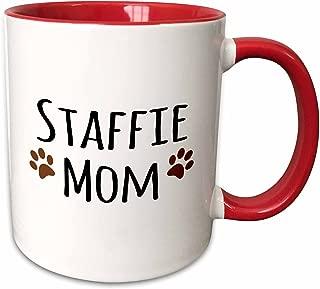 3dRose 154201_5 Staffie Dog Mom - Staffordshire Bull Terrier - brown paw prints - Doggie by breed Ceramic Mug, 11 oz, Red/White
