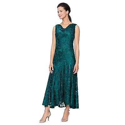 Alex Evenings Tea Length Sleeveless Cowl Neckline Dress