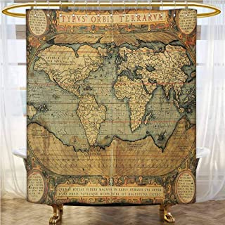 World Map Kids Shower Curtain Ancient Old Chart Vintage Reproduction of 16th Century Atlas Print Shower Stall Curtain Sand Brown Slate Blue 55x72 INCH