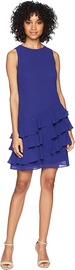 Sleeveless Shift Dress with Ruffle Details