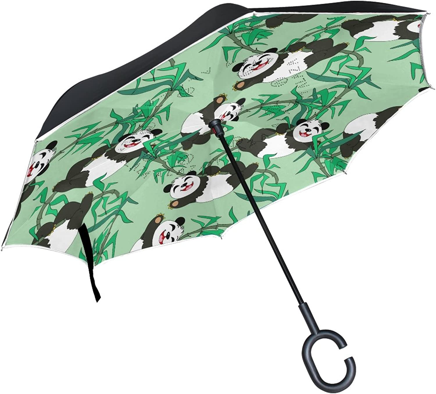 MAPOLO Cute Pandas Pattern Ingreened Double Layer Straight Umbrellas InsideOut Reversible Umbrella with CShaped Handle for Rain Sun Car Use