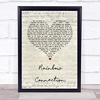 Rainbow Connection Script Heart Song Lyric Quote Music Poster Gift Present Art Print