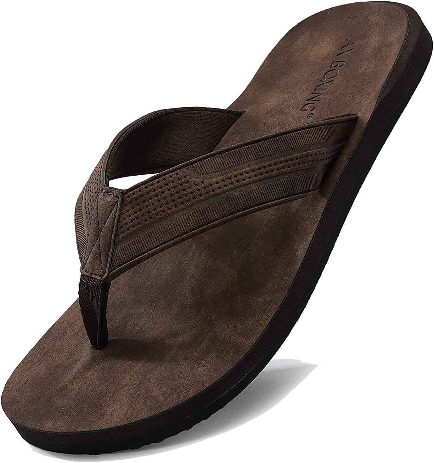 AX BOXING Flip Flops Mens Thong Sandals Leather Casual Comfort Flat Slides Slippers