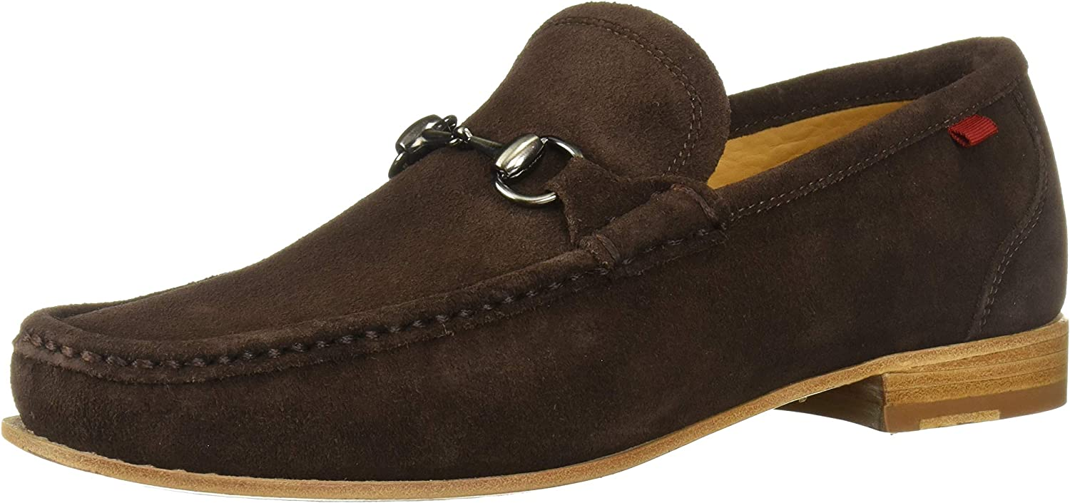 MARC JOSEPH NEW YORK Mens Gold Collection Leather Sole Buckle Loafer, Brown Suede, 11 M US