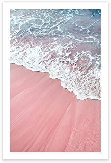 Humble Chic Wall Art Prints - Unframed HD Printed Modern Picture Poster Decorations for Home Decor Living Dining Bedroom Kitchen Bathroom Office Dorm Room - Pink Sand Beach Waves, 24x36 Vertical