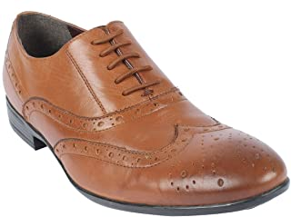 Salt N Pepper Almond Real Leather Men's Lace Up Shoes Beige