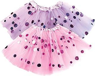 Polka Dot Tutu for Girls - Glitter Pink & Purple Set - 2 Tulle Tutus Skirt - Birthday Gift, Ballet, Dress Up, Princess Party