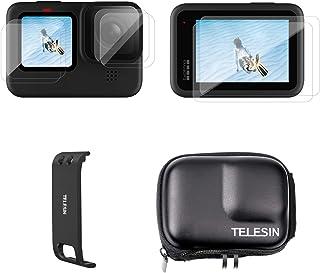 جراب حماية صغير للحمل من تيليسين + غطاء بطارية + طبقة واقية للشاشة عالية الدقة لجو برو هيرو 9 أسود، مجموعة إكسسوارات جو برو 9