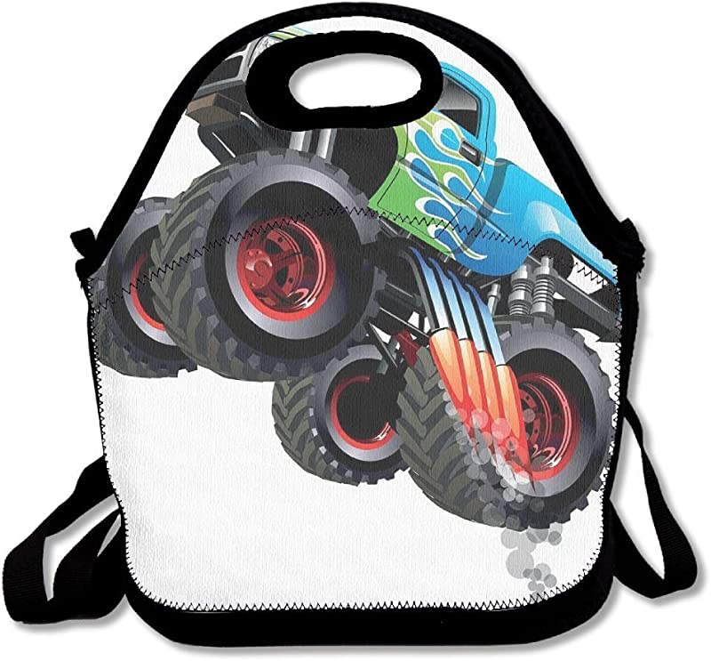 JUCHen Cartoon Monster Truck Cool Vehicle Modified To The Perfection Lunch Bag Tote For School Work Outdoor