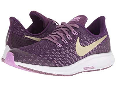 Nike Kids Air Zoom Pegasus 35 (Little Kid/Big Kid) (Night Purple/Metallic Gold Star/Violet Dust) Girls Shoes