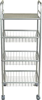 Mind Reader 4TBATHCART-SIL 4 Tier All-Purpose Mobile Utility Cart, Silver