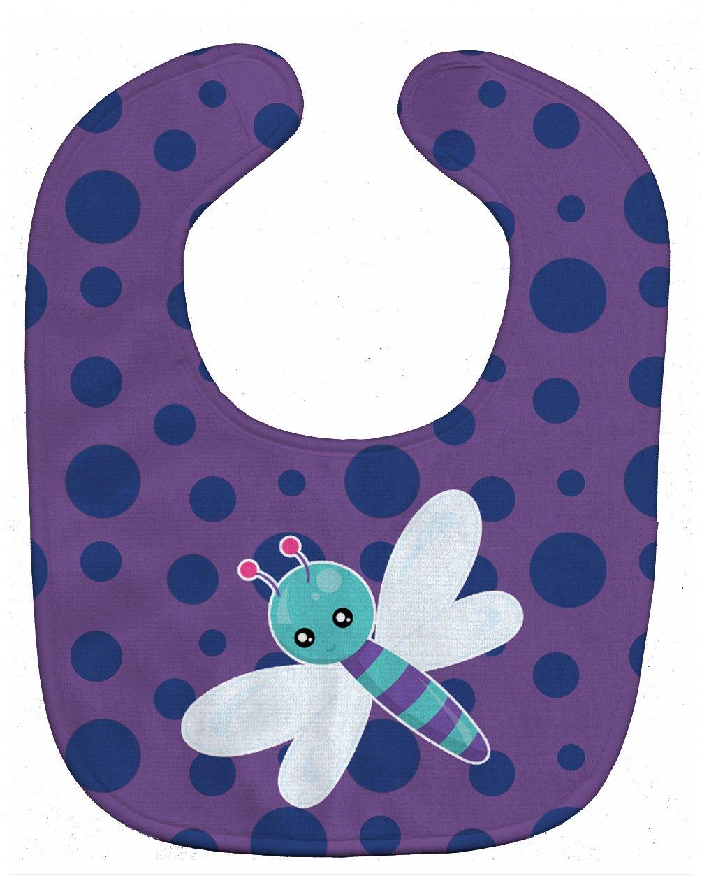 Caroline's Treasures BB7099BIB Dragonfly on Purple Polkadots Baby Bib, 10 x 13
