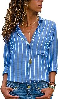 HUUSA Womens Casual V Neck Striped Button Down Long Sleeve Shirts Chiffon Blouses Tops