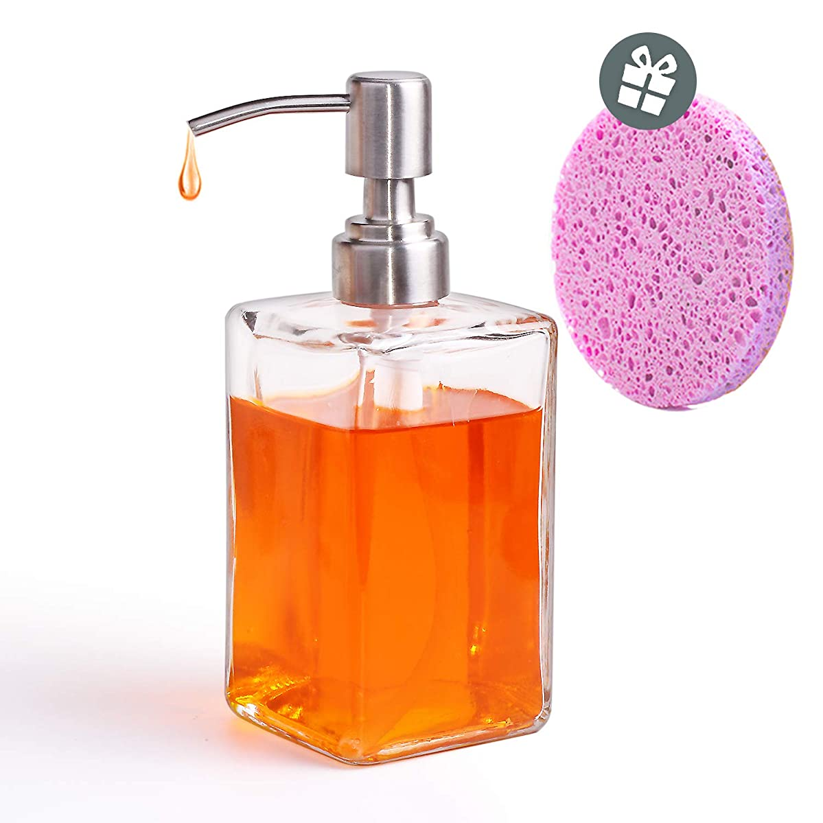 10.58-Ounce Clear Glass Square Bottles, Glass Soap Dispenser, Hand Soap Dispenser with Stainless Steel Pumps, Suitable for Essential Oils, Lotions, Liquid Soaps