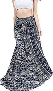 Rysly Women's Elastic Waist Bohemian Long Skirt Summer Beach Skirt Casual Floral Dresses