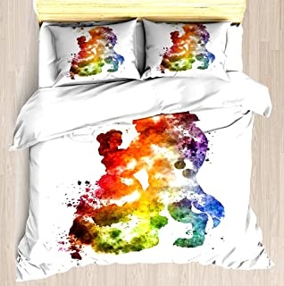 NTCBED Beauty & The Beast Watercolour Design - Duvet Cover Set Soft Comforter Cover Pillowcase Bed Set Unique Printed Floral Pattern Design Duvet Covers Blanket Cover Queen/Full Size