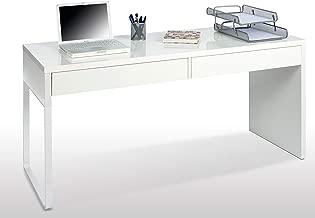 Habitdesign 002315BO - Mesa Escritorio, Color Blanco Brillo, Modelo Touch, Dimensiones 138x75x50 cm de Fondo