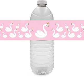 Swan Baby Shower or Birthday Party Water Bottle Labels - 24 Stickers