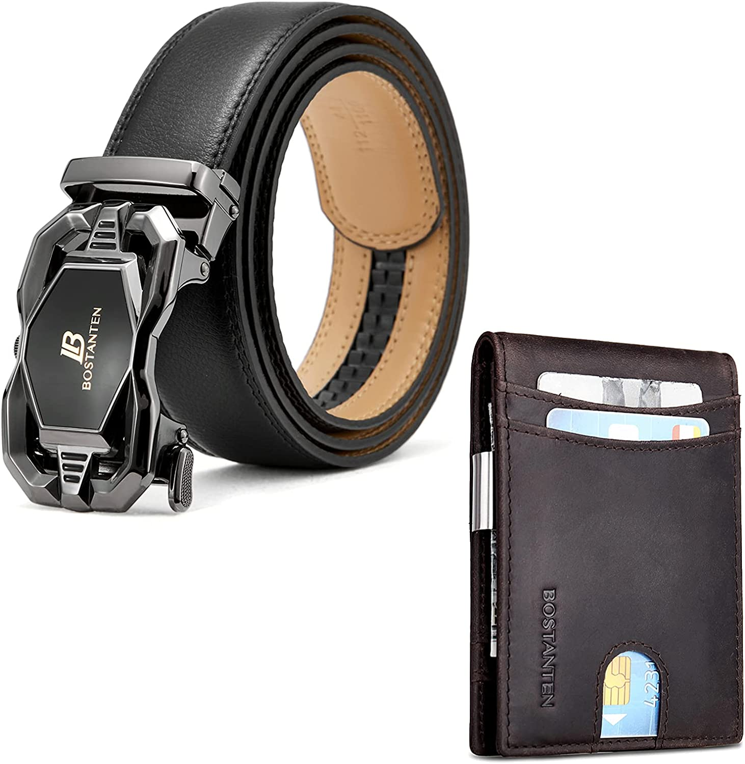BOSTANTEN Men's Leather Ratchet Dress Belt with Automatic Sliding Buckle and Leather Wallets for Men Bifold Money Clip Slim Front Pocket RFID Blocking Card Holder Coffee