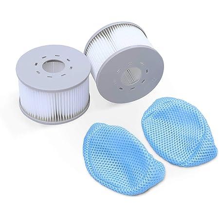 Alice's Garden Lot de 2 filtres avec Filets pour spas gonflables MSPA V2. Ø108cm – 2 Cartouches filtrantes de Remplacement pour Spa Gonflable MSPA + 2 Filets de Protection pour Spa 2020
