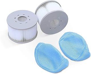 Alice's Garden Lot de 2 filtres avec Filets pour spas gonflables MSPA V2. Ø108cm – 2 Cartouches filtrantes de Remplacement...