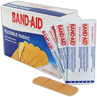 "Johnson & Johnson JJ4444 Band-Aid Woven Adhesive Bandages, 1"" x 3"", Tan (Box of 100)"