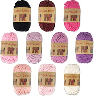 BambooMN Brand - Cotton Select Bonbon Yarns - Assortment 94 (Color F) - 10x 10g Solid Color Mini Ball - 1 Pack