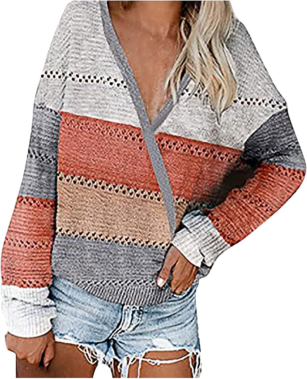 Sweaters for Women Striped Color Block Sweater Long Sleeve V Neck Casual Hollow Out Knit Pullover Tops