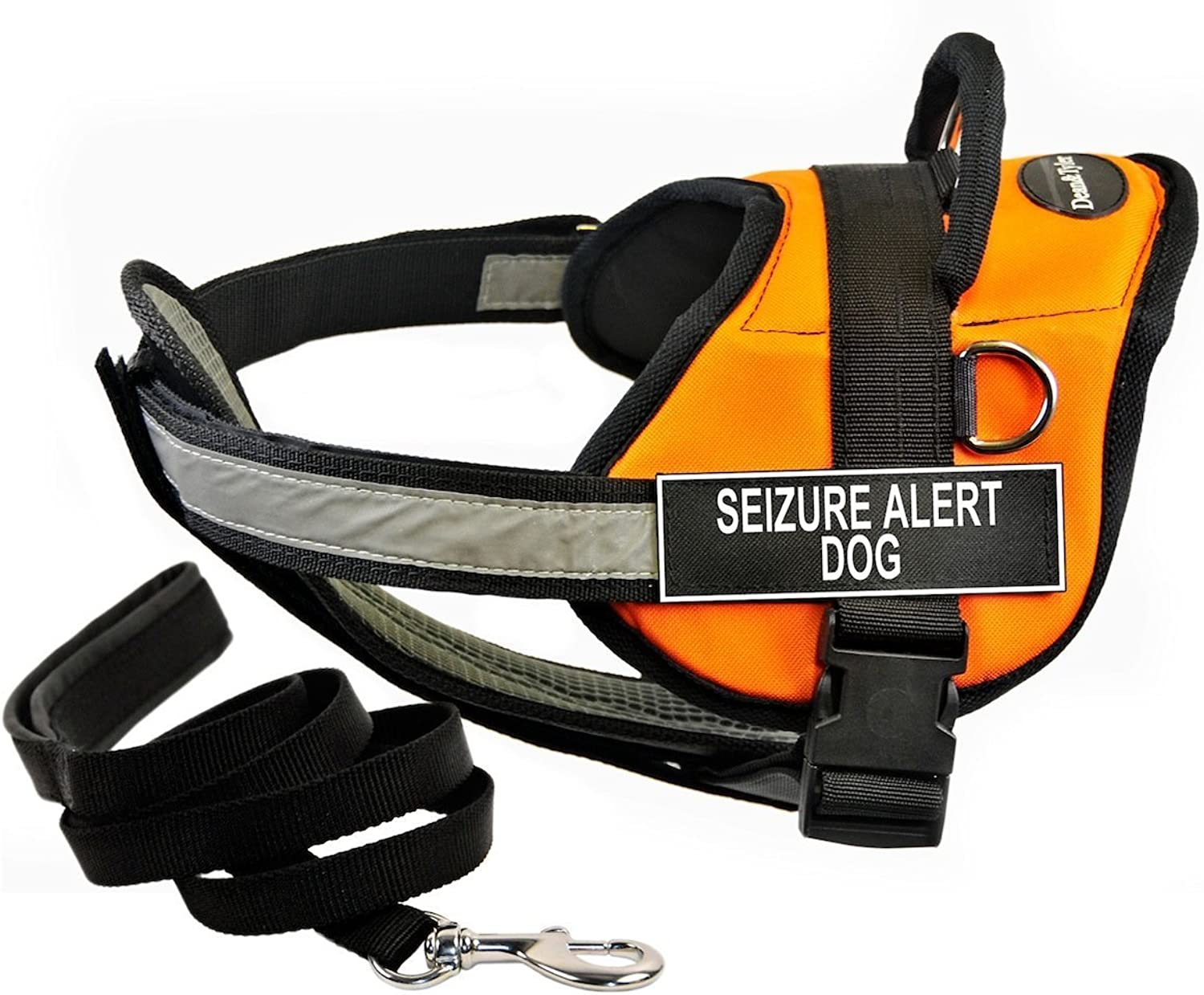 Dean & Tyler DT Works orange SEIZURE ALERT DOG Harness with Chest Padding, Small, and Black 6 ft Padded Puppy Leash.