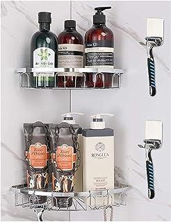 Etagère de salle de bain Adhésif Coin Douche Caddy 2-Pack, étagère de salle de bain montée murale, 304 en acier inoxydable...