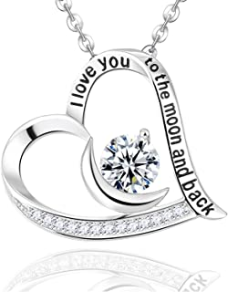 Fine Jewelry ❤️ I Love You to the Moon and Back Necklace ❤️ Sterling Silver Simulated Diamond Jewelry for Women Girls Birthday Gifts for Mom Wife Teen Girls