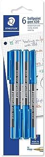 Staedtler Medium Stick 430 Ballpoint Pen, Blue, Pack of 6