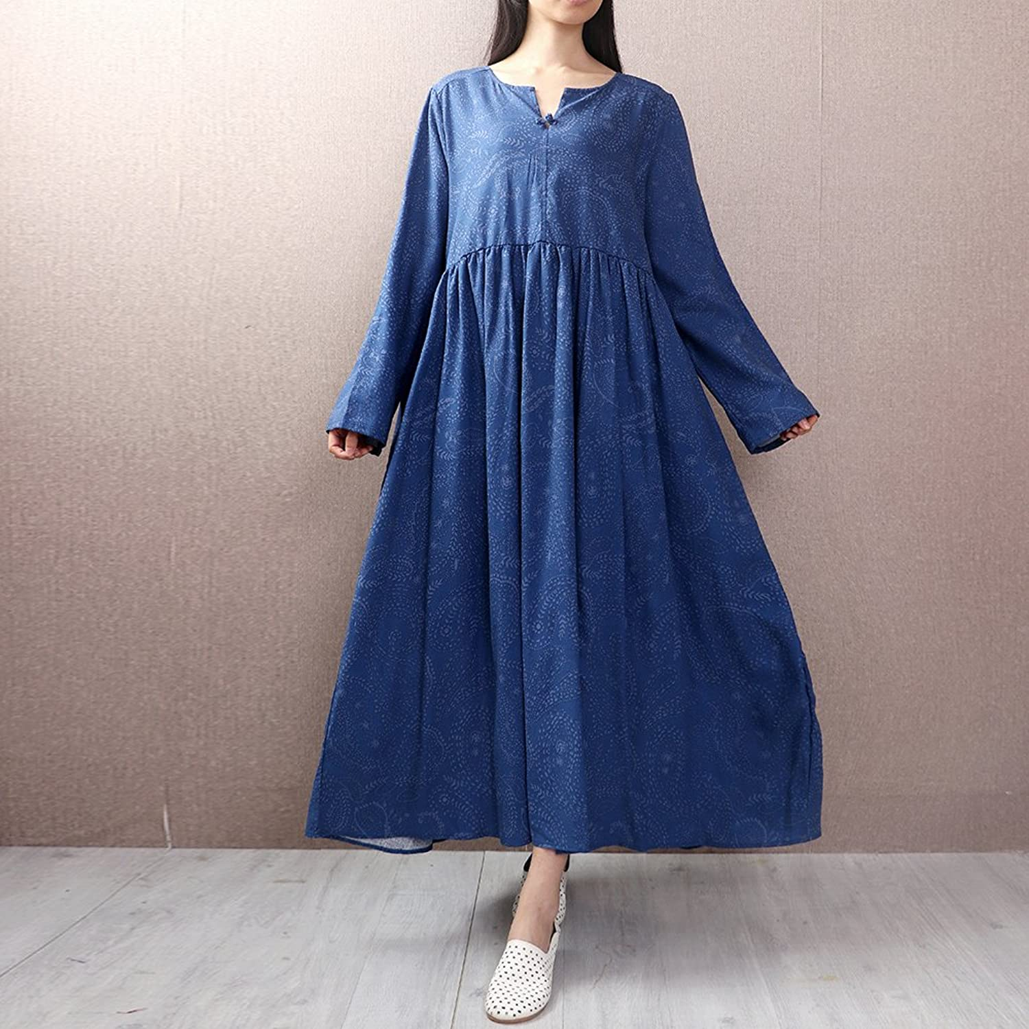 XIURONG Long Sleeved Cotton Dress Girls Long Loose Waist Skirt