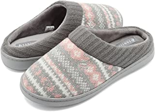 CIOR Women's Memory Foam House Slippers Sweater Knit Embroidered Pattern and Ribbed Hand-Knit Collar House Shoes