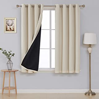 Deconovo Faux Linen Total Blackout Curtains with Black Lining Thermal Insulated and Energy Efficiency Beige Curtains for Living Room 52 x 63 Inches Long, 2 Panels