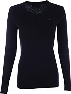 Tommy Hilfiger Womens Scoop Neck Cable Knit Sweater (XX-Large, Black)
