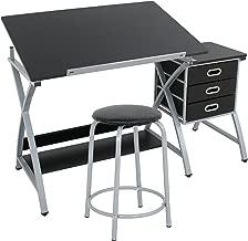 ZENY Tabletop Tilted Drawing Drafting Table Craft Drafting Desk Board Art Workstation w/ 2 Slide Drawers & Stool,Tabletop Adjustable,Art Craft Supplies