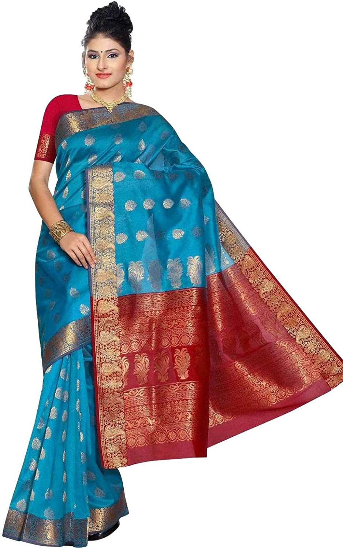 bluee and Red South Indian fancy Art Silk Sari Saree