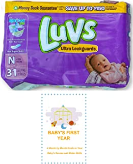 Luvs Newborn Diapers (Size N - Less Than 10 lbs) (31 Count) Bundle with Baby's First Year Informational Guide
