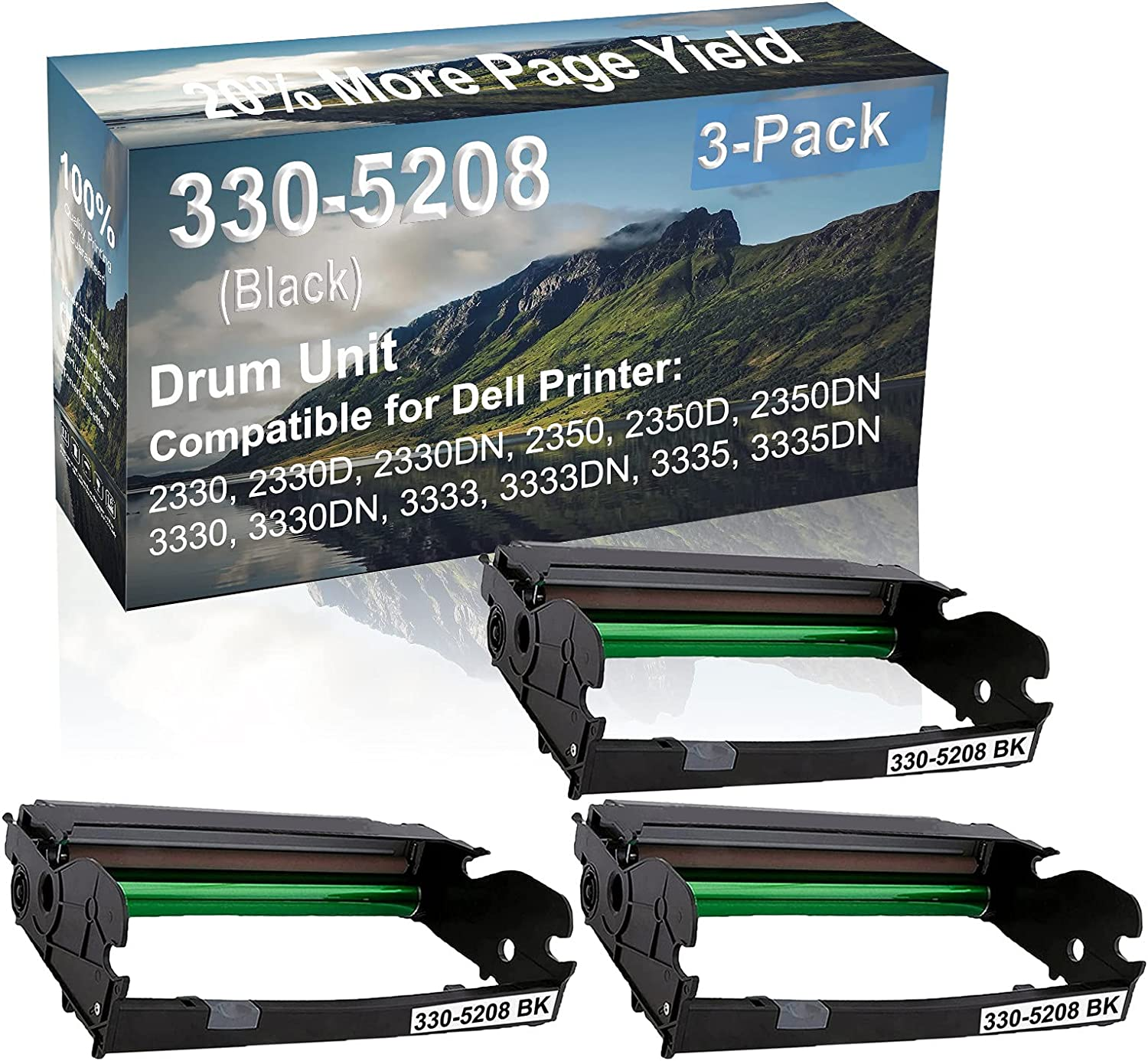 3-Pack Compatible Drum Unit (Black) Replacement for Dell 330-5208 Drum Kit use for Dell 3333, 3333DN, 3335, 3335DN Printer